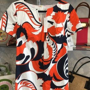 TRINA TURK Multi Color Floral Print Cotton Dress